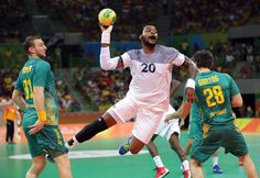 Cedric Sorhaindo of France throws the ball against Brazil during the men's handball quarterfinals in the Rio 2016 Summer Olympic Games at Future Arena.