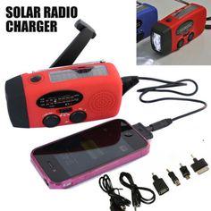 Emergency Solar Wind Up Hand Crank 3 LED Flashlight AM/FM Weather Radio Charger~