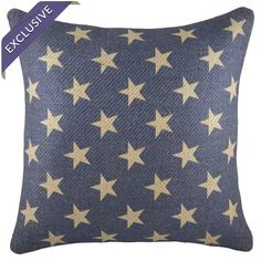Burlap throw pillow in blue and beige. Handmade in the USA.   Product: PillowConstruction Material: Burlap