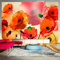 Velvet Poppies x Wallpaper East Urban Home High Quality Wallpapers, Original Wallpaper, Montage, Decoration, Wall Murals, Poppies, Vibrant Colors, Velvet, Curtains
