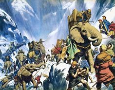Hannibal crossing the Alps - Look and Learn History Picture Library Carthage, History Images, Art History, Ancient Rome, Ancient History, Hannibal History, Tattoo Guerreiro, Hannibal Barca, War Elephant