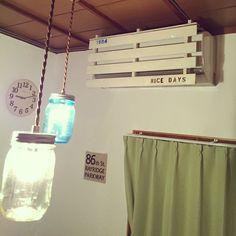 昭和レトロ部/DIY/北欧/昭和レトロ/手作り/100均…などのインテリア実例 - 2016-06-24 21:10:37   RoomClip(ルームクリップ) Novelty Lamp, Interior, Air Conditioner Design, Home Decor, Mason Jar Lamp, Mason Jars