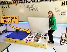 Adventures of Ms. Smith: How I Built My Classroom Stage. Adventures of Ms. Smith: How I Built My Classroom Stage. Classroom Layout, Classroom Design, Future Classroom, Classroom Themes, Classroom Organization, Classroom Management, Space Classroom, Teacher Classroom Decorations, Modern Classroom