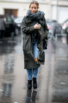 Rain coat and a jeans. Yes it's a spotted streetstyle on the Paris Fashion Week 2016