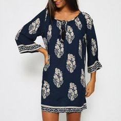 Oshlen Loose Pattern Design Mini Dress