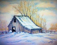 Watercolor Projects, Watercolor Landscape Paintings, Watercolor Paintings, Watercolors, Barn Pictures, Pictures To Paint, Winter Painting, Winter Art, Winter Landscape