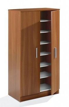 #Bellini 2 door shoe storage cabinet unit with 7 shelves #chestnut wood #melamine,  View more on the LINK: 	http://www.zeppy.io/product/gb/2/331590683030/