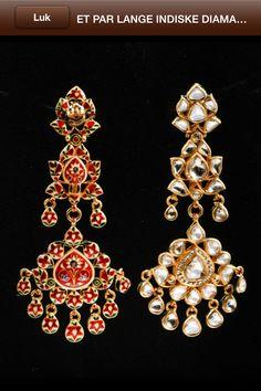 Indiske øreringe, diamant og emalje