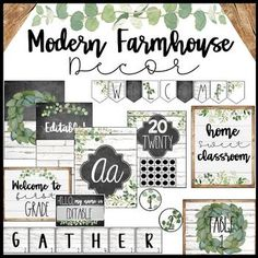 Home Sweet Classroom! This packet was inspired by current favorite modern farmhouse trends found in many of our homes. This Modern farmhouse style incorporates old and new pieces. The main colors are a combination of White, Black, and Gray (modern), and white rustic ship lap wood (earthy elements).