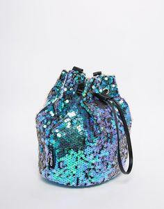 Image 2 ofJaded London Mermaid Iridescent Sequin Bucket Bag