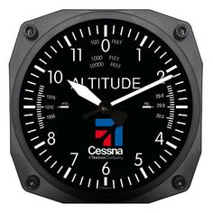 "Trintec 6"" Cessna Altimeter Instrument Style Clock 9060-CES Great Aviation Gift #TrintecIndustries"