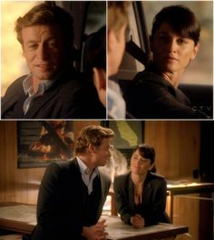 "Jane: I missed you.  Lisbon: I missed you too.  ... bottom pic: Lisbon: ""You did good."""