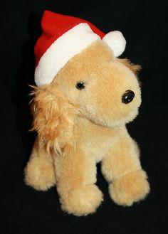 "Disney Plush Santa Buddies Dog Brown Red Stocking Hat Stuffed Christmas Puppy 6"""
