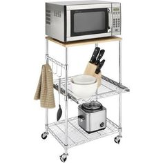 Rolling Kitchen Microwave Cart Adjustable Wire Shelves Island Rack Stand Table #Whitmor