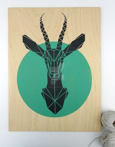 Gazelle Stencil Art, Aqua Print, Geometric Spray Paint on Plywood, animal street art Plywood Art, Sketch Manga, Origami Tattoo, Geometric Shapes, Geometric Animal, Geometric Origami, Stencil Art, Silk Screen Printing, Grafik Design