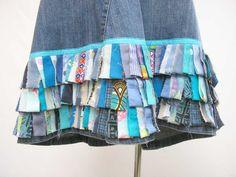 Blue fringe jeans skirt, Plus size Denim Skirt, upcycled plus size skirt, AU 18 uk 16 US 14 skirt, blue tag fringe skirt, refashioned skirt by Rethreading on Etsy
