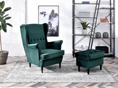 Fotel MALMO ZIELONY welurowy uszak na czarnych nóżkach - Mebel-Partner.pl Green Armchair, Wingback Chair, Sofa, Accent Chairs, Living Room, Furniture, Home Decor, Bottle, Products