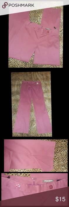 """Bisou Bisou pink slacks. Size 8 Bisou Bisou pink slacks. Size 8 x 32 inseam. Straight leg with a 7.5"""" slit. New without tags. A slightly more maroon ish pink than what the pictures show Bisou Bisou Pants Trousers"""