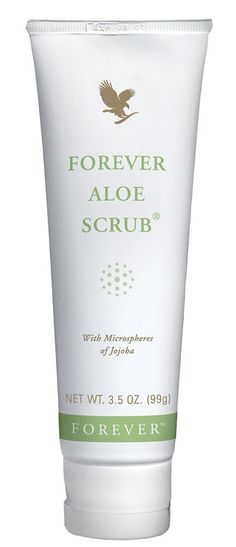 our  forever aloe scrub contains microspheres from the jojoba bean plant and has pure aloe versa, its gentle enough to use everyday on the fce . its works by removing dead skincells open pores and clear the way for new skin to feel radient and healthier x