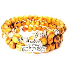 NATURAL WOOD WRAP BANGLE LOVE AS THOUGH YOU HAVE NEVER BEEN HURT BEFORE BRACELET - See more at: http://www.chubbychicocharms.com #Love #Motivational #Quotes #AmericanMade