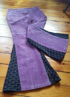 Life is too short to wear boring clothing! Lilac with insets of dark purple with small blue, lilac and tan flowers. Size 5/6 waist measures 32, Low rise- 8. Inseam 31, if you want these cords and need them longer, Id be happy to add some length. The Bell is 27! These are stretch corduroys, so soft and comfortable.  If you would like a pair made for you: Send me a convo, email or we can even speak on the phone to create you a fabulous pair of jeans. I will need a little information such as…
