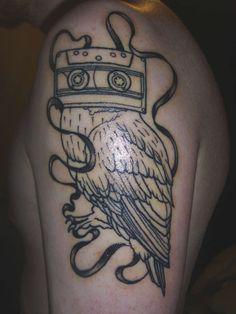 cassette owl tattoo