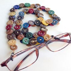 Eyeglass Chain in Multi Colored Vintage Buttons by MRSButtons on Etsy