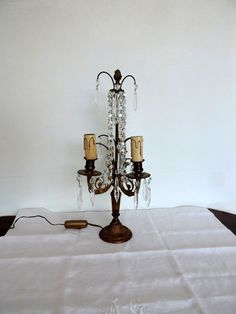 Antique French bronze and cut glass table lamp by Frenchidyll