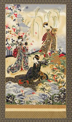 Panel Imperial Collection Geisha green by Robert Kaufman Cotton Quilting Fabric Japanese Quilts, Japanese Fabric, Japanese Art, Japanese Painting, Asian Wallpaper, Asian Quilts, Asian Fabric, Art Asiatique, Art Japonais
