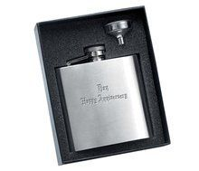 Personalized 6 Oz Calendered Finish Rimless Stainless Steel Flask . $22.95. With a sleek silver finish that is handsome this 6 Oz Calendared Finish Stainless Steel Flask makes an ideal choice for a gift for any occasion. Besides its slim profile and personalization opportunities, it features a small funnel to make filling your flask as easy as 1-2-3.  Comes with free personalized engraving with up to 3 lines, 10 characters per line. Please select a font style ...