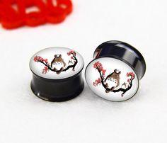 Cute Pairs pcs flower with tree ear plugs flash Tunnel Gauge Body Jewelry Black Titanium