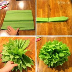 Monstrous Tissue Pom Poms by Persia Lou. How to: use 10 sheets of tissue paper. Accordian fold, twist floral wire in center, cut pointy ends & fluff out