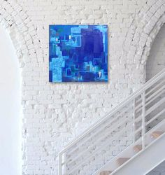 Blue Original Abstract Painting  Contemporary by linneaheideart
