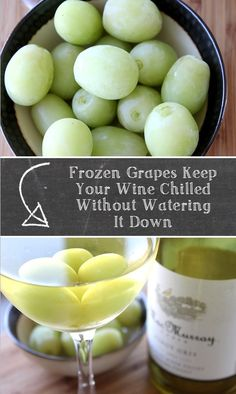I love to eat frozen grapes in the summer time, but they are also fantastic little cubes for keeping your wine chilled without watering it down. You can also plop one or two in a glass of red wine that has been kept at a room temperature that is too warm.