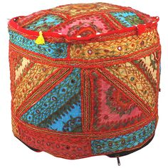 Patchwork Round Ottoman Pouf Cover, Indian Vintage Pouffe Footstool Cover, Bean Bag Round Sitting Pouf Floor Pillows Floor Cushion Cover Pouf Ottoman, Ottoman Cover, Hungarian Embroidery, Vintage Embroidery, Embroidery Patterns, Modern Embroidery, Bean Bag Rounds, Living Room Pouf, Handmade Ottomans