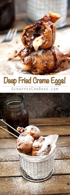 Deep Fried Creme Eggs - Your favourite Easter chocolate as you've never seen it before! Cadbury Creme Eggs covered in light, fluffy Vanilla batter and deep fried to gooey, yummy perfection. A sinful treat that should be wrong, but tastes so right! Great Desserts, Delicious Desserts, Dessert Recipes, Yummy Food, Homemade Chocolate, Easter Chocolate, Deep Fried Desserts, Cupcakes, Pudding