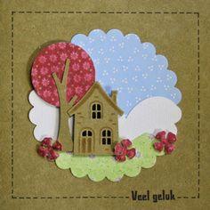 Variaties op de huisjeskaart van een aanschuifworkshop bij Marjolein Zweed Creatief. In het blogbericht zie je nog een variant. In het blogbericht staat een link naar het patroon van de boomstam.