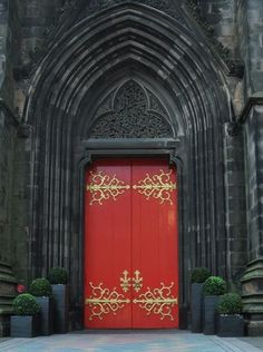 stunning door!... love the red & gold of the door with the  green & black of plants  … surrounded by ancient stonework…  beautiful energy!