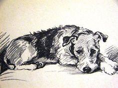 Lucy Dawson 1937 SOLEFUL FOX TERRIER Vintage DOG Art Print