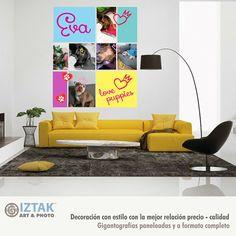 Contamos con la opción de diseñar y personalizar totalmente tu cuadro decorativo, con tus propias fotos o arte Barcelona Chair, Collage, Home Decor, Impressionism, Pets, Art, Pictures, Collages, Decoration Home