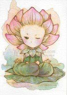 Open Edition ACEO Print - Meditating Lotus Sprite - Kawaii Whimsical Character - Flower Fairy - Fantasy Art by Mitzi Sato-Wiuff