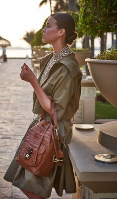 Sunset chic: an exotic Drawstring Ricky Bag, photographed in Dubai with safari-inspired separates from RL Collection