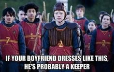 Quidditch Keeper, Ron Weasley (Rupert Grint) in Harry Potter and the Half-Blood Prince Ron Weasley, Must Be A Weasley, Weasley Twins, Chewbacca, Expecto Patronum Harry Potter, Doug Funnie, No Muggles, Harry Potter Puns, Harry Potter Quidditch