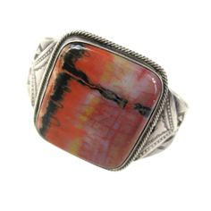Native American Sterling Navaho Petrified Wood Bracelet | From a unique collection of vintage cuff bracelets at http://www.1stdibs.com/jewelry/bracelets/cuff-bracelets/