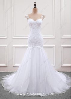 Alluring Tulle & Organza Sweetheart Neckline Mermaid Wedding Dress With Lace Appliques & Beadings - Adasbridal.com