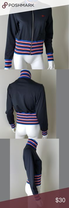 """Adidas Black Red Blue Striped Track Jacket M Black track jacket with red blue white and black stripes. Colored  parts are tighter fitting stretchy elastic. Preloved no flaws. Women's size medium.   Approximate Measurements Laid Flat- Pit to pit- 18"""" Length- 22""""  100% Polyester   #1395 adidas Jackets & Coats"""