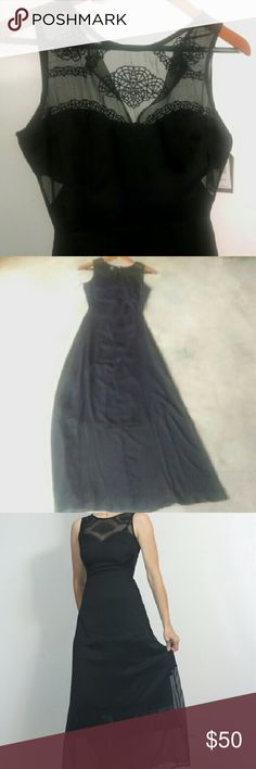 """Romantic Gothic Black Maxi Dress Ethereal gothic dress sheer - gorgeous spider web embroidery on top new w tag & minor imperfection it's poly but looks more like silk/rayon to me By Element size xs -fits true I'm 5'8"""" size s & it is too snug in bodice(sadly, or would be too hard to give it up) partially lined. (approx to the knee at the skirt & in the bodice minus the cutout areas) I am wearing a black slip underneath not included. dress in NWT- small defect near zipper where the fabric is…"""