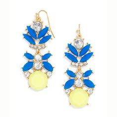 Bold Royal Blue and yellow drop earrings accented with clear crystals. - Closure: Post Back - Materials: Plated Base Metal, Acrylic
