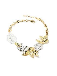 Ezrum Two-Tone Leaf Bib Necklace