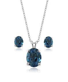 Loving this 14-mm London Blue Topaz Oval-Cut Pendant Necklace & Earrings on #zulily! #zulilyfinds
